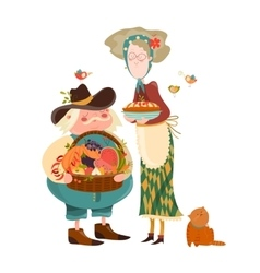 Couple with basket of fruits and vegetables vector