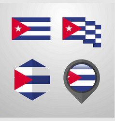 cuba flag design set vector image
