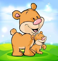 cute bear family on green meadow vector image