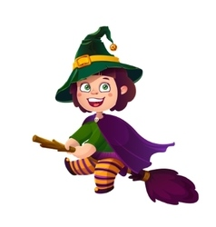 Cute Brunette Girl Witch on the Broom Happy vector image