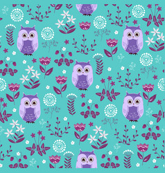 cute colorful floral seamless pattern with owls vector image