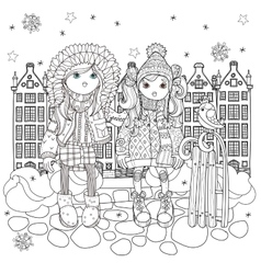 Cute girls in winter hat vector