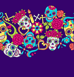 day dead seamless pattern sugar skulls vector image