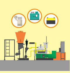 detail flat mechanism factory working machine vector image