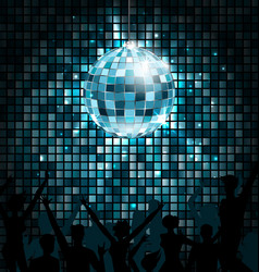 Disco ball with silhouettes of people dance party vector