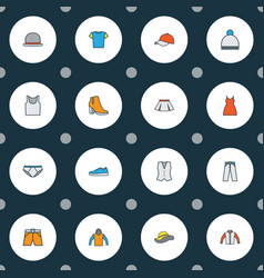 dress icons colored line set with cardigan panama vector image