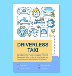 Driverless taxi brochure template layout robotic vector