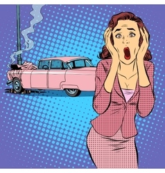 Female driver car accident vector