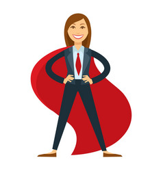 Female superhero in office suit with red tie and vector