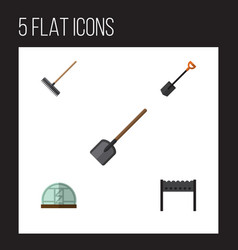 flat icon dacha set of shovel hothouse harrow vector image