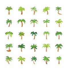 Flat icons set of trees vector