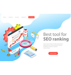 flat isometric landing page template of seo vector image