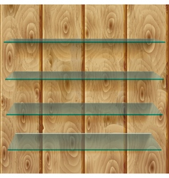 Glass shelves on wooden planks vector image