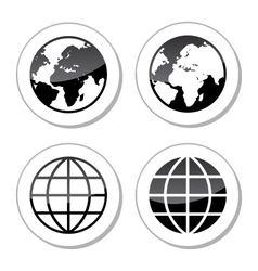 Globe Earth Icons as Labels vector image