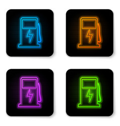 glowing neon electric car charging station icon vector image
