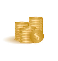 golden coins isolated on vector image