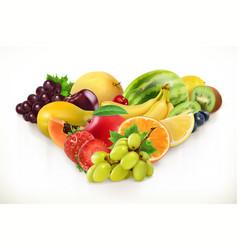 Grapes and juicy fruits 3d realism vector