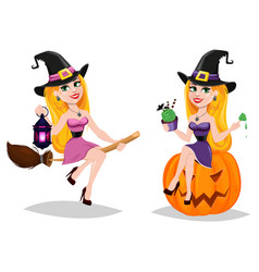 Halloween cute cartoon character for holiday set vector