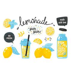 hand drawn lemonade lemon juice bubble drink vector image