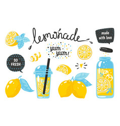 hand drawn lemonade lemon juice bubble drink with vector image