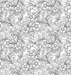 Hand drawn vintage floral seamless pattern vector