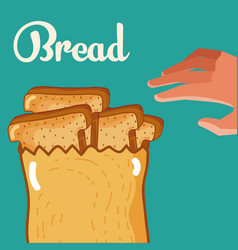 hand grabbing delicious breads vector image