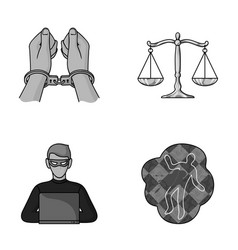 Handcuffs scales of justice hacker crime scene vector