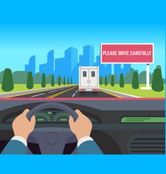 Hands driving car auto inside dashboard driver vector