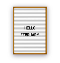 hello february motivation quote on white vector image