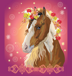 Horse portrait with flowers16 vector
