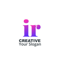 Initial letter ir lowercase design logo template vector