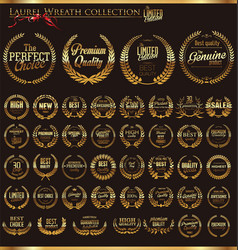 Laurel wreath golden collection vector