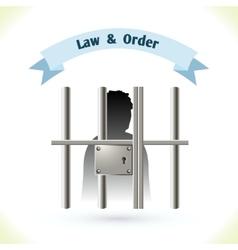 Law icon prisoner in jail vector image