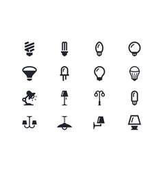 Lightning and light bulbs icons Lyra series vector image