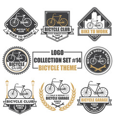 logo collection set with bicycle theme vector image