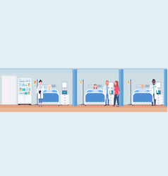 Mix race doctors visiting patients lying in bed vector