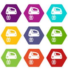 mixer kitchen icons set 9 vector image