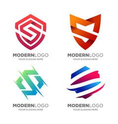modern shield letter s logo design vector image