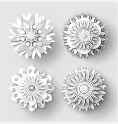 origami flowers white paper cut out objects set vector image
