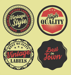 pastel color vintage labels collection 8 vector image