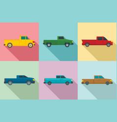 pickup icons set flat style vector image