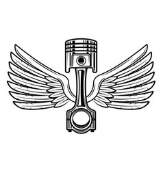 Piston with wings vintage black and white vector