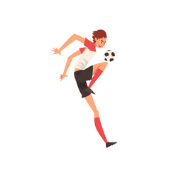Professional soccer player kicking ball football vector