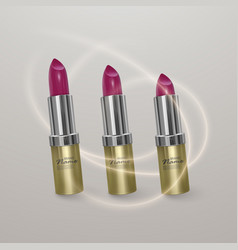 realistic lipstick of bright cherry color 3d vector image