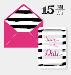 save date set pink envelope and graphic vector image
