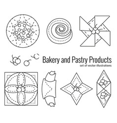 Set bakery and pastry products vector
