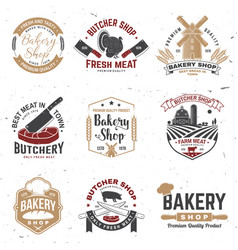 set butcher shop and bakery shop badge label vector image
