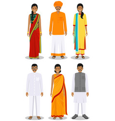 Set different standing indian young adult women vector