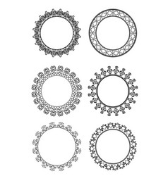 set of black and white frame of lace on a whit vector image