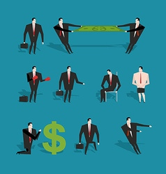 Set of businessman in various poses and situations vector image